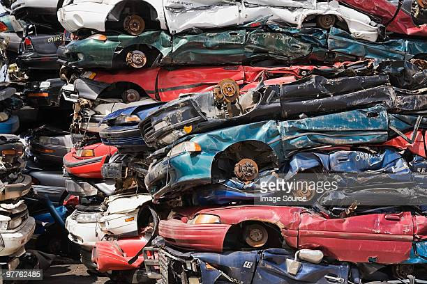 Stacks of crushed cars