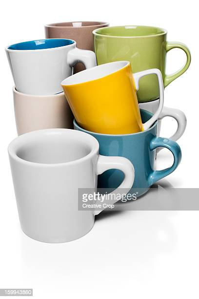Stacks of drinking mugs