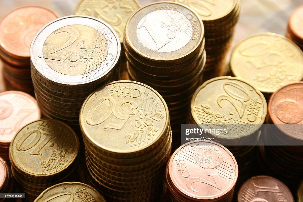 Stapel von Euro-Münzen : Stock-Foto