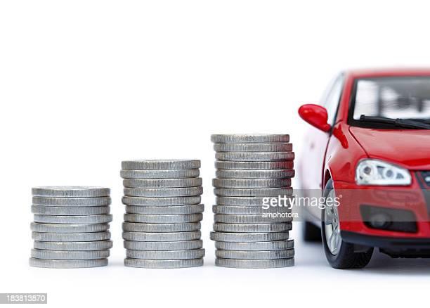 soldi e auto - prezzo messaggio foto e immagini stock