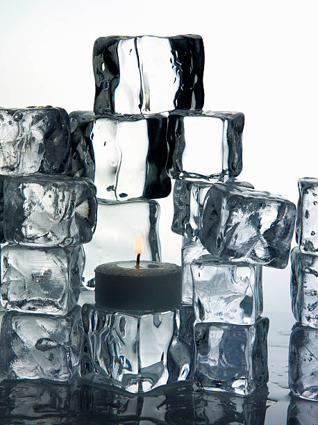 Stacks Of Ice Cubes And Candle Wall Art