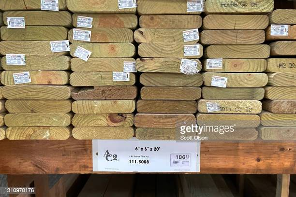 Stacks of lumber are offered for sale at a home center on April 05, 2021 in Chicago, Illinois. Lumber prices have more than tripled since last April...