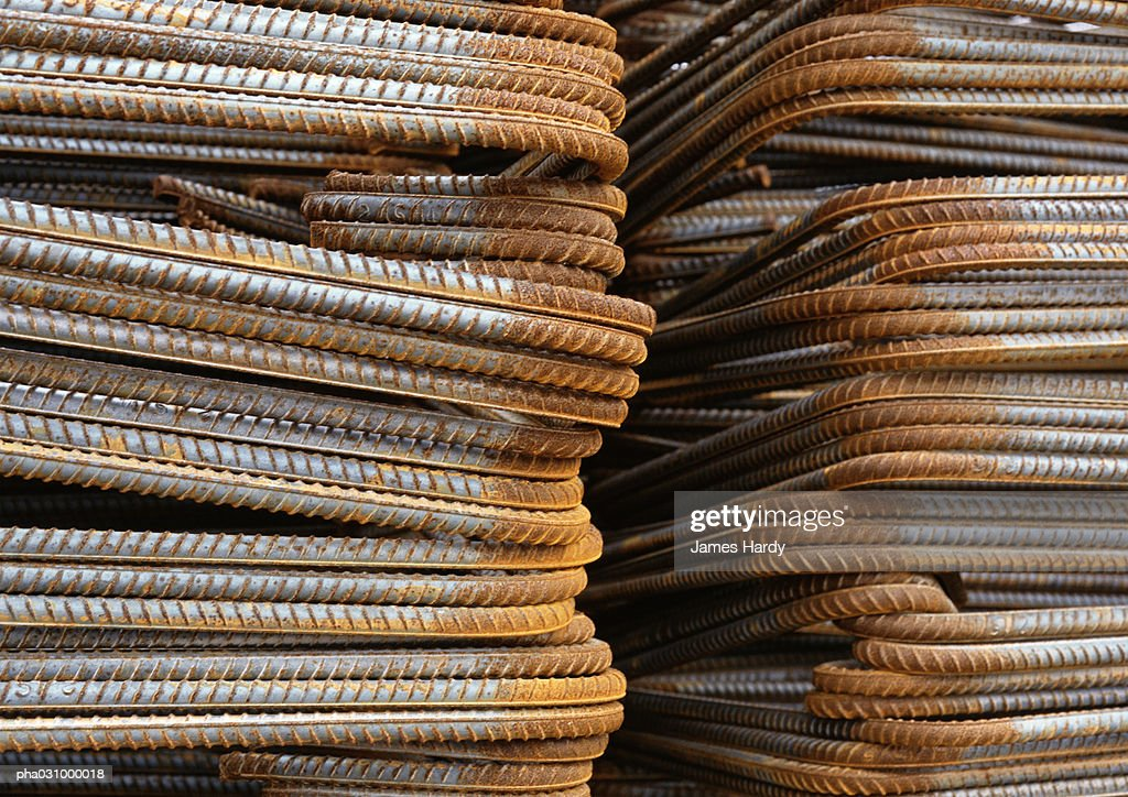 Stacks of metal rods, close-up : Stockfoto