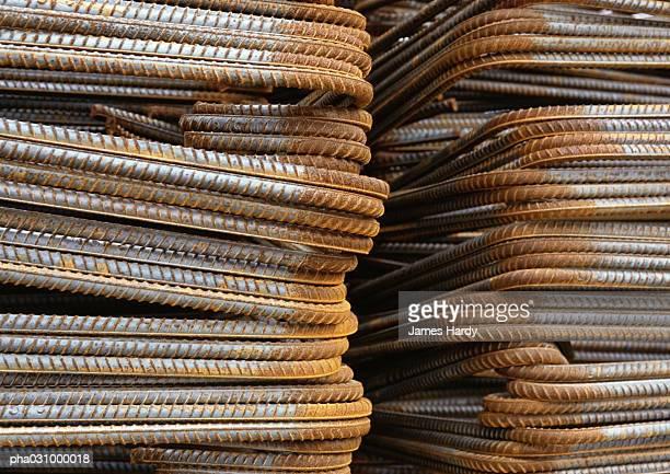 Stacks of metal rods, close-up