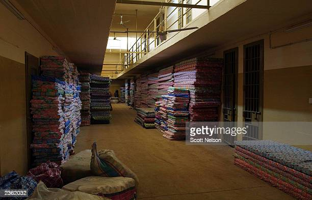 Stacks of new matresses are piled in a wing of the former Abu Ghraib prison as renovations near completion August 4 2003 at Abu Ghraib 20 miles west...
