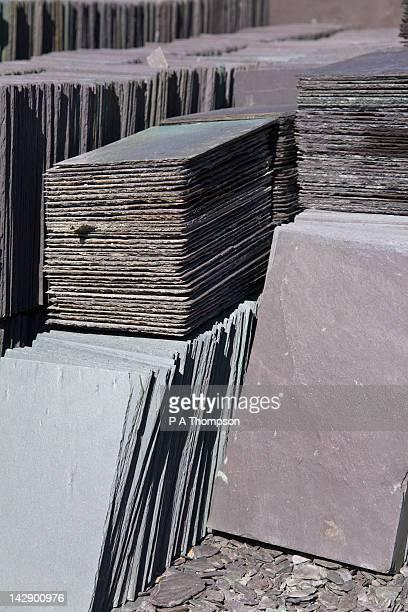 Stacks of slate tiles, Welsh Slate Museum, Llanberis, Gwynedd, North Wales, Wales