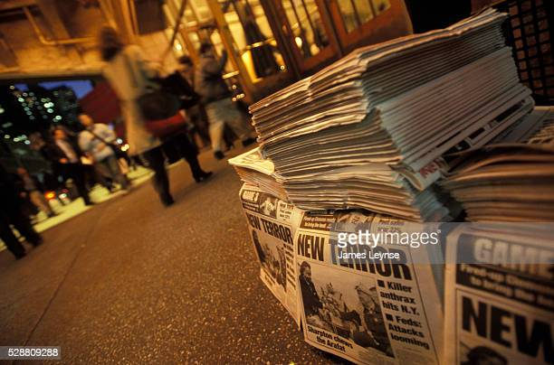 Stacks of the New York Post reporting on recent anthrax attacks sit outside Grand Central Terminal in Manhattan New Yorkers as well as the country...