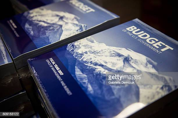Stacks of the President's Fiscal Year 2017 Budget sit in the House Budget Committee Room in the Cannon House Office Building on February 9, 2016 in...