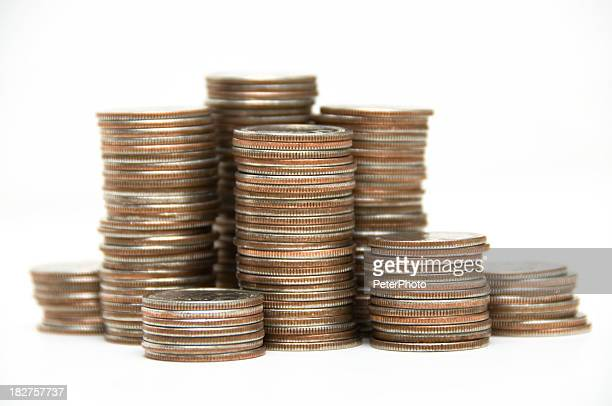 stacks of us coins - stacking stock pictures, royalty-free photos & images