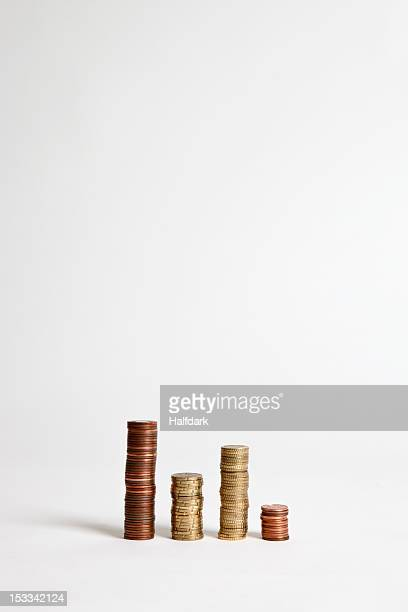 Stacks of various European Union coins