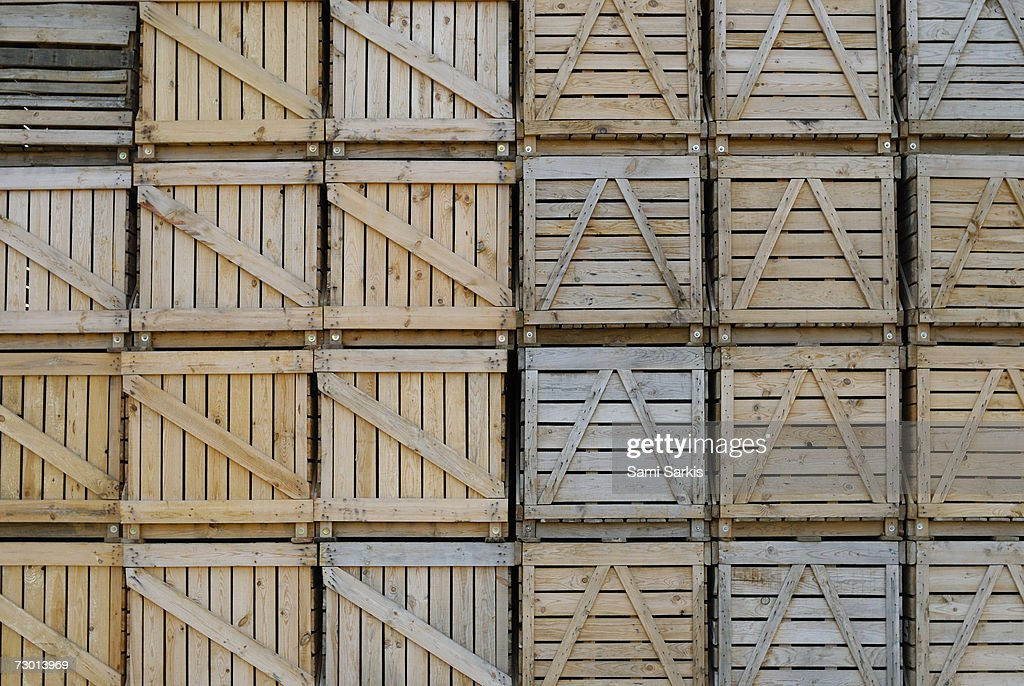 Stacks of wooden crates, close-up : Stock Photo