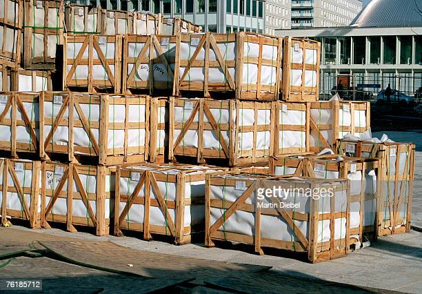 Stacks of wooden crates on a commercial dock