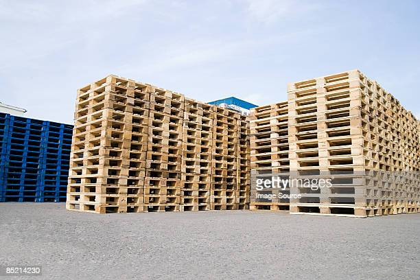 Stacks of wooden pallets