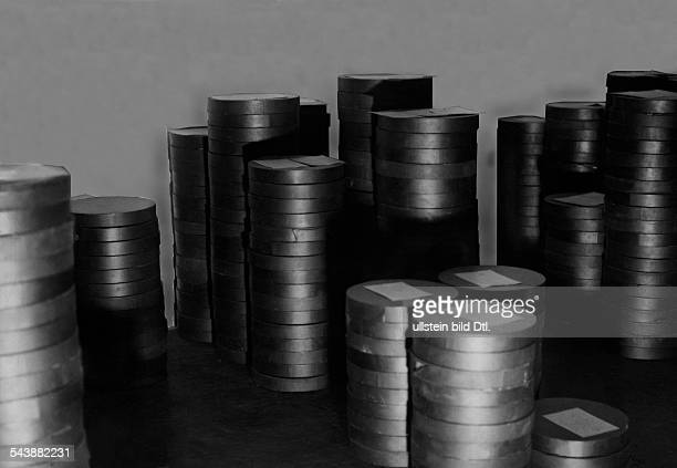 Stacks with boxes of record cavities Photographer Curt Ullmann Published by 'Hier Berlin' 43/1937Vintage property of ullstein bild