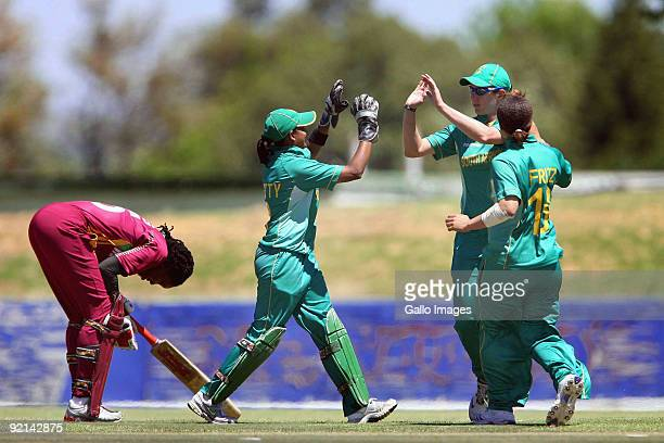 Stacy Ann King from West Indies looks dejected after being run out by South Africa during the third one day international Women's cricket match...