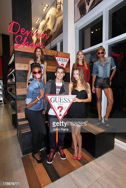 Stacy Ann Laura Kirkpatrick and Renee Bhagwandeen attend the GUESS America's Next Top Model event at GUESS Lincoln Road on August 10 2013 in Miami...