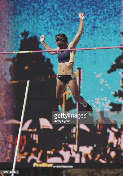 Stacy Dragila attempts to clears the bar during the Women's Pole Vault event at the United States Olympic Trials for track and field on 23 July 2000...