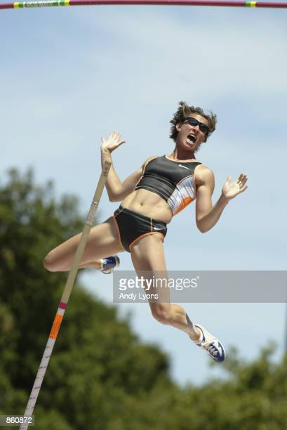 Stacy Dragila competes in the women's pole vault finals to go on to win the gold medal during the 2002 USA Outdoor Track & Field Championships on...