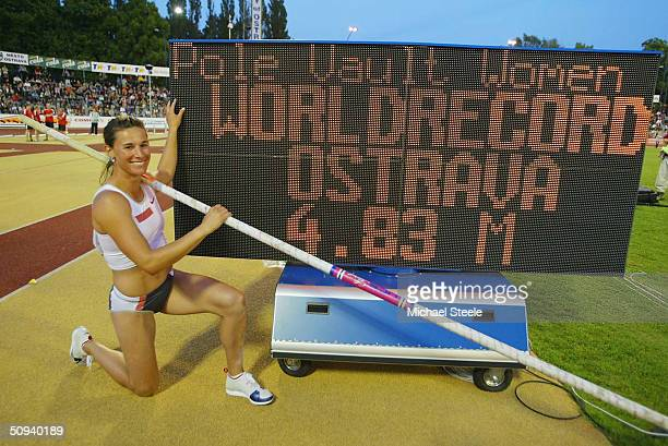 Stacy Dragila of United States celebrates her World Record clearance in the women's pole vault at the IAAF Golden Spike meet on June 8 2004 in...