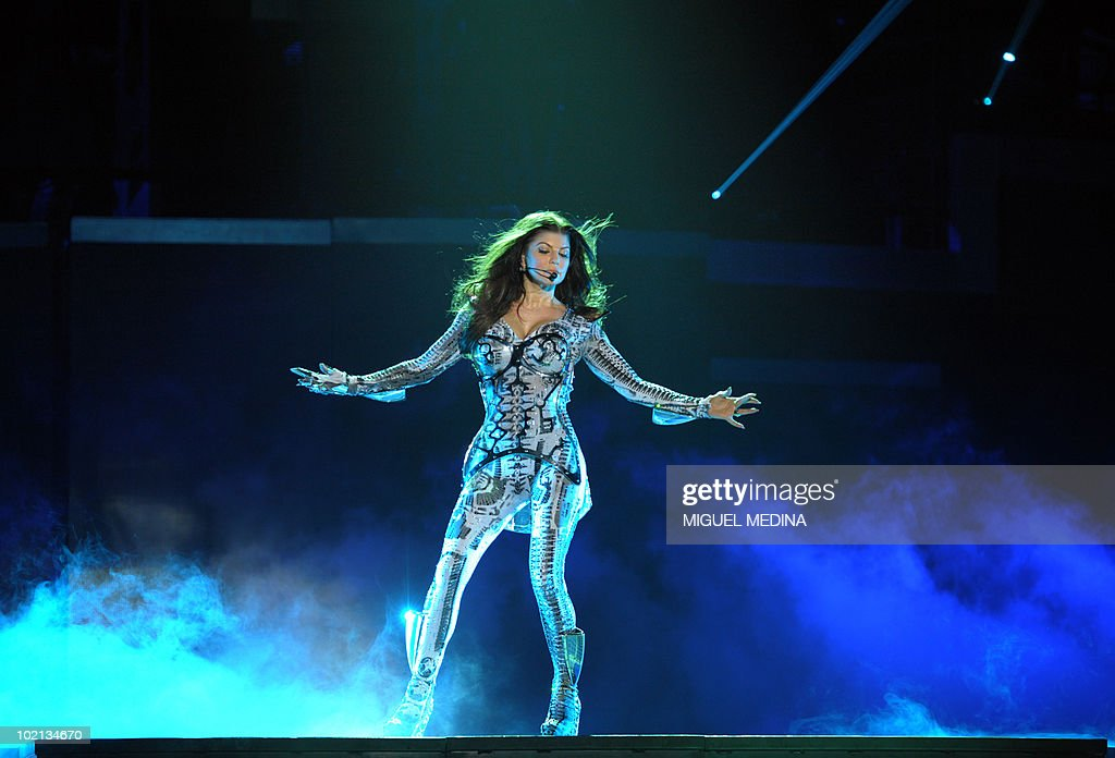 Stacy Ferguson aka Fergie from the band 'The black eyed peas' performs on the stage of Bercy on June 4, 2010 in Paris.