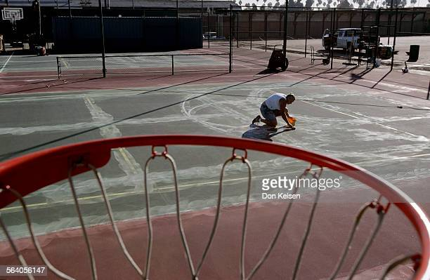 – Stacy Hartley working to resurface two tennis courts and make them Basketball courts. When Lenny Lindborg opened his Huntington Beach tennis club...