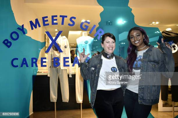 Stacy Igel and Justine Skye pose during the Boy Meets Girl x Care Bears Collection at Colette on February 14 2017 in Paris France