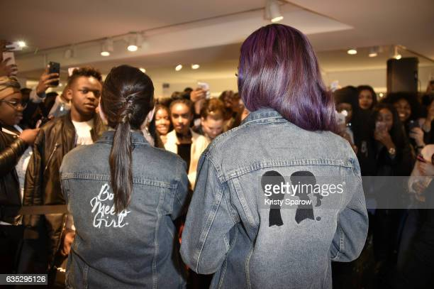 Stacy Igel and Justine Skye speak during the Boy Meets Girl x Care Bears Collection at Colette on February 14 2017 in Paris France