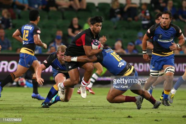 Stacy Illi of the Dragons runs the ball during the Rapid Rugby match between the Western Force and the Asia Pacific Dragons at HBF Stadium on April...