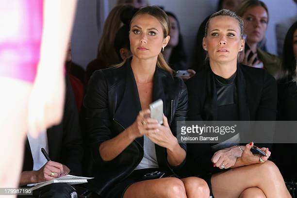 Stacy Keibler and actress Molly Sims attend the Monique Lhuillier fashion show during MercedesBenz Fashion Week Spring 2014 at The Theatre at Lincoln...