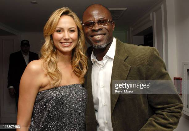 Stacy Keibler and Djimon Hounsou during Vanity Fair's Sixth Annual Amped Concert Inside at Boulevard3 in Hollywood California United States