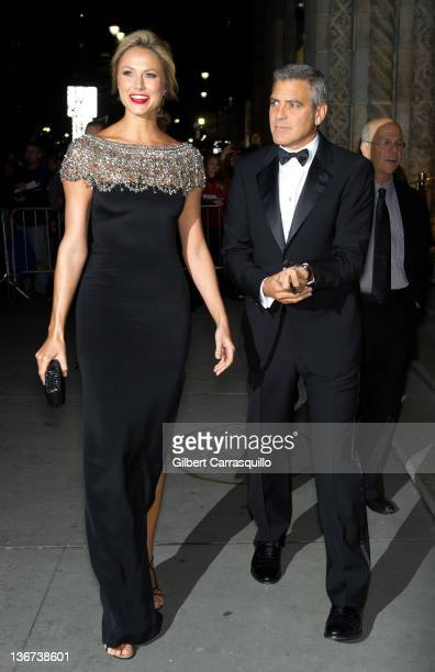 Stacy Keibler and George Clooney attend the 2011 National Board of Review Awards gala at Cipriani 42nd Street on January 10 2012 in New York City