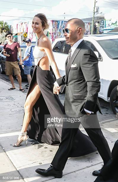 Stacy Keibler and Jared Pobre attend David Grutman's and model Isabela Rangel wedding in Wynwood Wall on April 23 2016 in Miami Florida