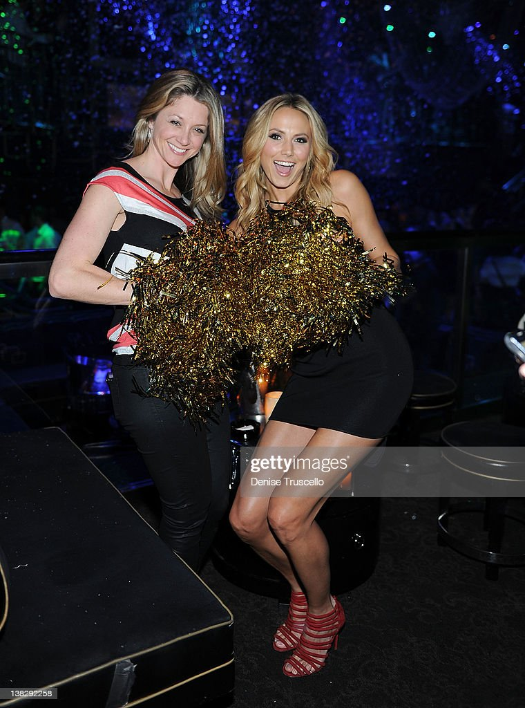 Stacy Keibler (R) and Kendall Towers attend Big Game Eve party at Bank Nightclub, Bellagio Hotel And Casino Resort on February 4, 2012 in Las Vegas, Nevada.
