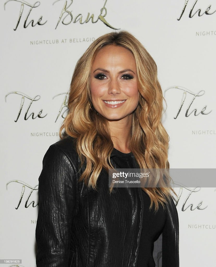 Stacy Keibler arrives at the Big Game Eve party at Bank Nightclub, Bellagio Hotel And Casino Resort on February 4, 2012 in Las Vegas, Nevada.