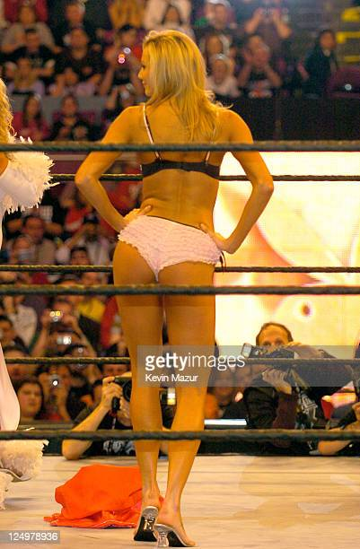 Stacy Keibler attends Wrestle Mania XX at Madison Square Garden on March 14 2004 in New York City