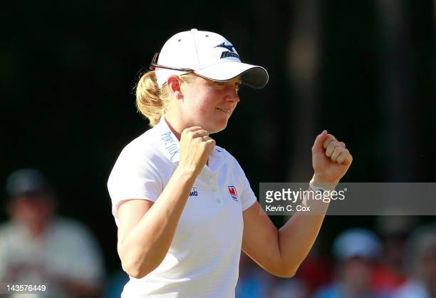 Stacy Lewis celebrates winning the Mobile Bay LPGA Classic at the Crossings Course at the Robert Trent Jones Trail at Magnolia Grove on April 29 2012...