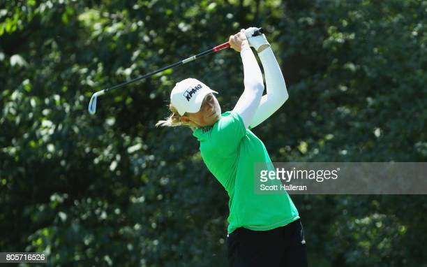Stacy Lewis her tee shot on the seventh hole during the final round of the 2017 KPMG Women's PGA Championship at Olympia Fields Country Club on July...