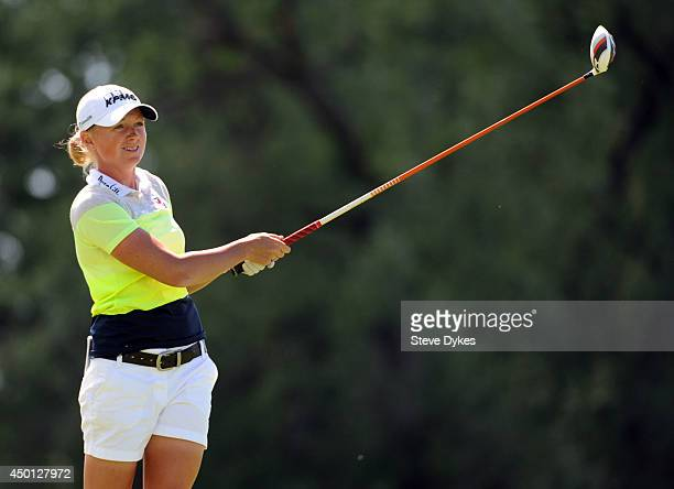Stacy Lewis hits her drive on the fifth hole during the first round of the Manulife Financial LPGA Classic at the Grey Silo Golf Course on June 5...