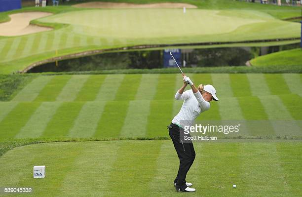 Stacy Lewis hits her tee shot on the 17th hole during the first round of the KPMG Women's PGA Championship at the Sahalee Country Club on June 9 2016...