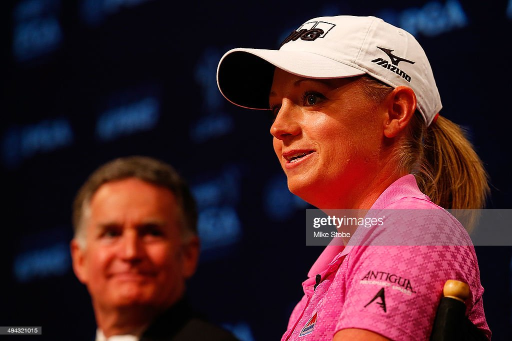 Stacy Lewis, LPGA Professional speaks to the media during a press conference to announce a KPMG Women's PGA Championship on May 29, 2014 at the NBC Studios in New York City.
