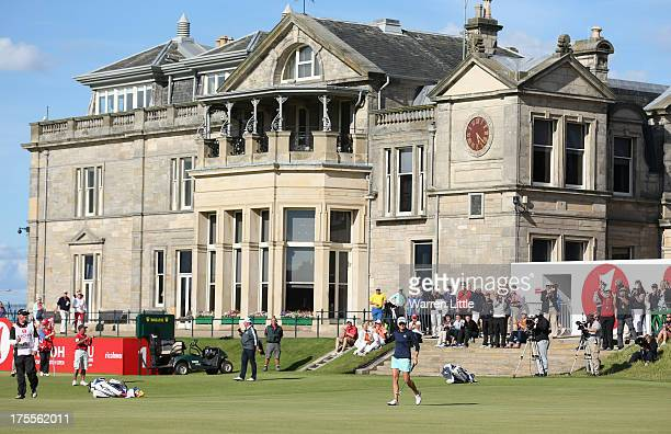 Stacy Lewis of the United States celebrates holing a birdie putt on the 18th green during the final round of the Ricoh Women's British Open at the...