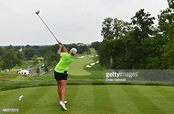 Stacy Lewis of the United States hit her tee shot on the third holeduring the final round of the U.S. Women's Open at Lancaster Country Club on July...