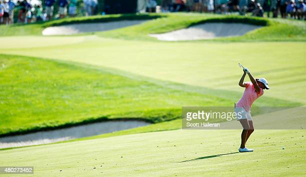 Stacy Lewis of the United States hits her approach shot to the second green during the second round of the US Women's Open at Lancaster Country Club...