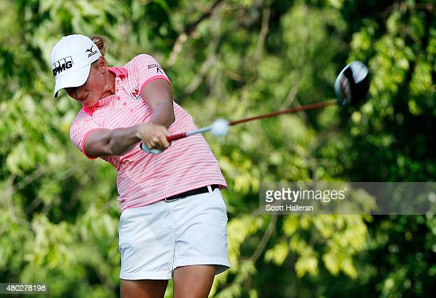 Stacy Lewis of the United States hits her tee shot on the second hole during the second round of the US Women's Open at Lancaster Country Club on...
