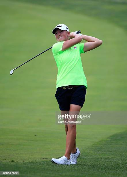 Stacy Lewis of the United States plays a shot on the third hole during the final round of the U.S. Women's Open at Lancaster Country Club on July 12,...