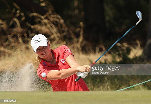 Stacy Lewis of the United States plays a shot out of the bunker during day two of the 2012 Women's Australian Open at Royal Melbourne Golf Course on...