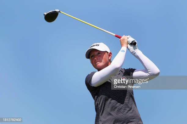 Stacy Lewis of the United States plays a tee shot on the 13th hole during the second round of the LPGA LOTTE Championship at Kapolei Golf Club on...