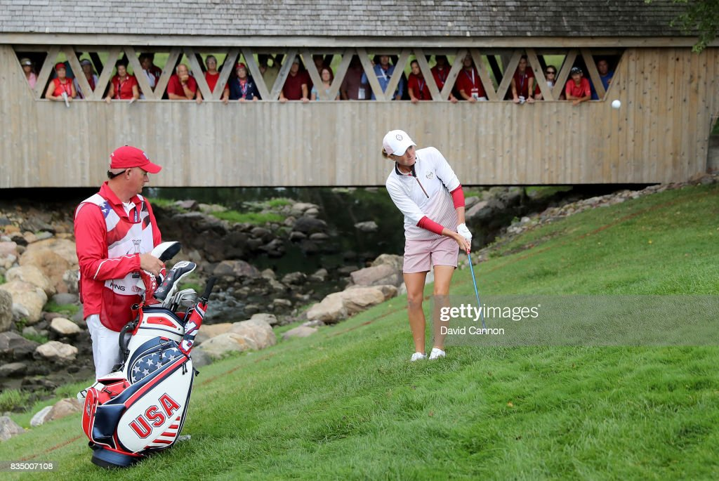 Stacy Lewis of the United States Team Team plays her second shot in her match with Gerina Piller against Karine Icher and Catriona Matthew of the European Team during the morning foursomes matches in the 2017 Solheim Cup at Des Moines Golf Coutry Club on August 18, 2017 in West Des Moines, Iowa.