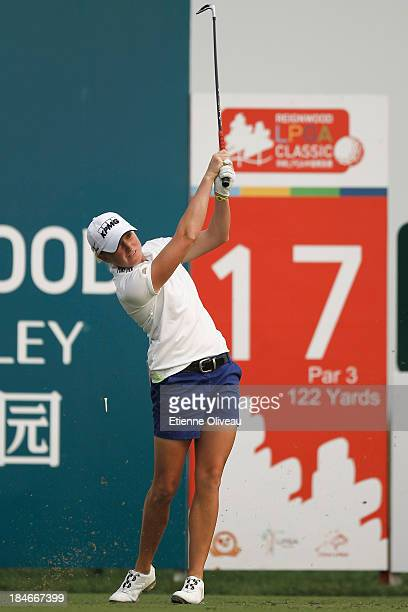 Stacy Lewis of the United States tees off on the 17th tee during the second round of the Reignwood LPGA Classic at Pine Valley Golf Club on October 4...