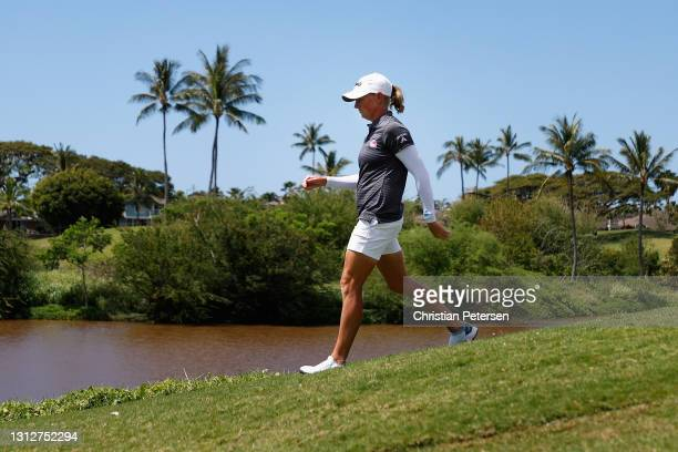 Stacy Lewis of the United States walks off the 13th tee box during the second round of the LPGA LOTTE Championship at Kapolei Golf Club on April 15,...